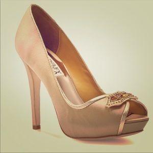 Badgley Mischka gold peep toe heels with gems -7
